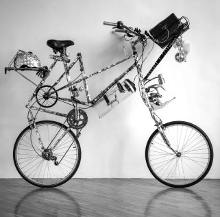 """Recycled bicycle parts, mirror mosaic tiles, bones, speakers (homemade boombox) 65"""" x 26"""" x 71"""" 2009-Present Photo by Timothy Murray"""