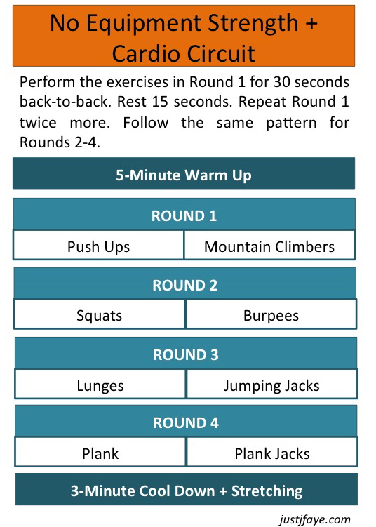 no equipment strength & cardio workout