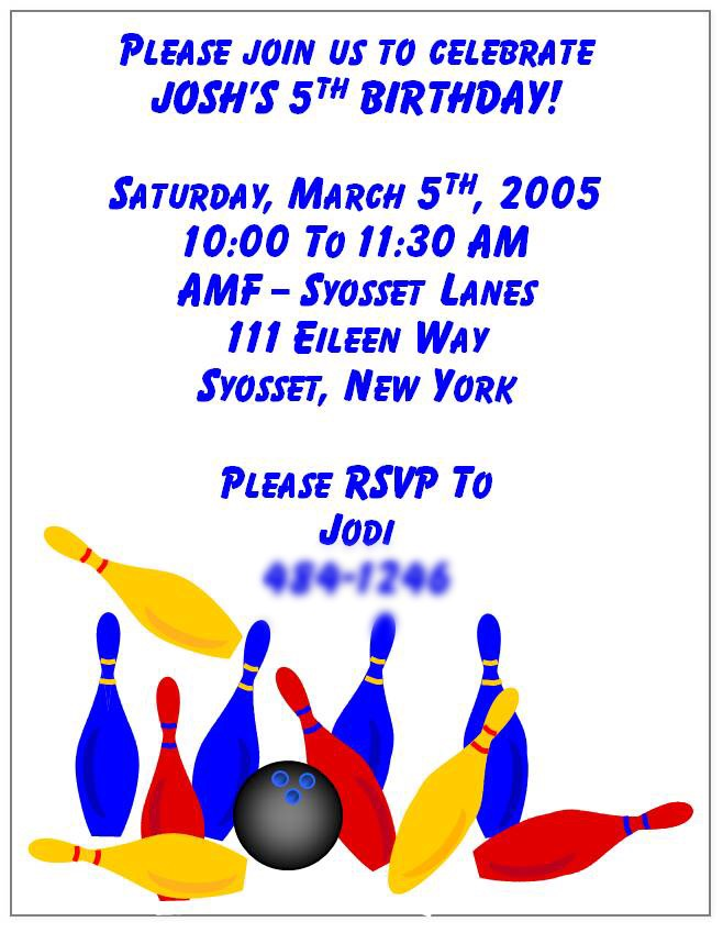 Boy\u0027s Bowling Invitation
