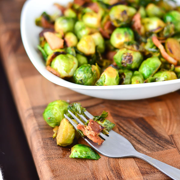 Sauteed Garlic Bacon Brussel Sprouts