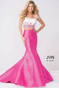 Pink skirt and white multi spaghetti strap bodice mermaid ...