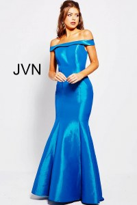 Teal blue mermaid off the shoulder plain prom dress with ...