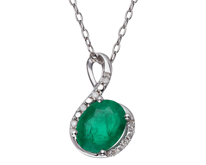 Custom necklaces san diego customized pendants necklaces j oval shape emerald and diamond in sterling silver pendant aloadofball Images