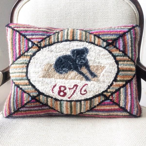 1876 Hand Hooked Cashmere Rug, Hit or Miss Primitive Dog