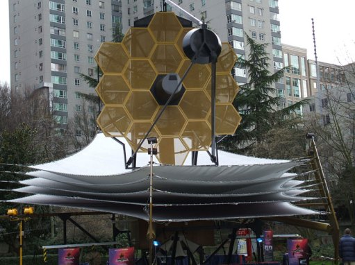 A full-scale model of the James Webb Space Telescope. (Click to embiggen.)