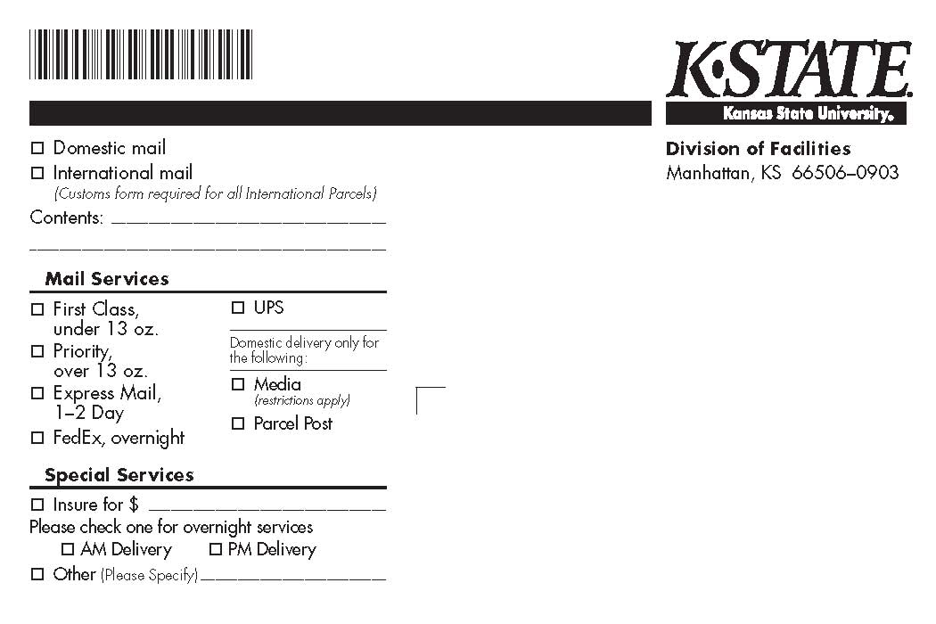 Shipping Label Central Mail Services Kansas State University