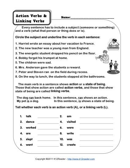 Action Verb and Linking Verb Worksheets - what is an action verb