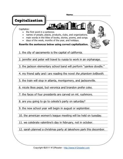 Capitalization Free, Printable Punctuation Worksheets