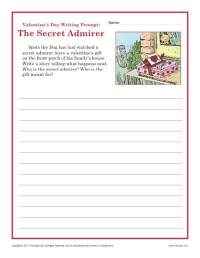 Valentine's Day Worksheet | Sectret Admirer Writing Prompt ...