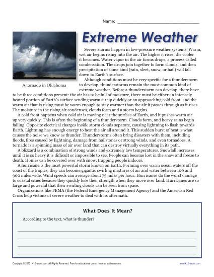 6th grade weather worksheets