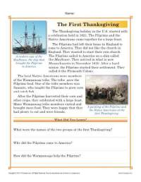 Thanksgiving Worksheets | The First Thanksgiving - Reading ...