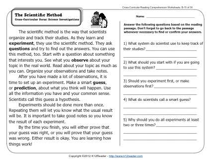 The Scientific Method 2nd Grade Reading Comprehension Worksheets