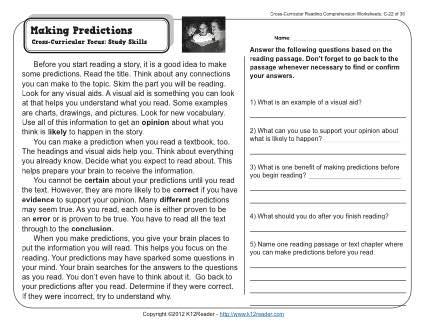 Making Predictions 3rd Grade Reading Comprehension Worksheet