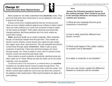 Charge It 4th Grade Reading Comprehension Worksheet