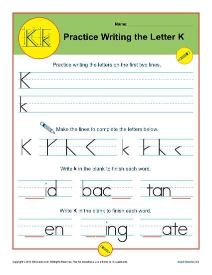 Letter K Worksheets Printable Handwriting Worksheet
