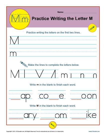 Letter M Worksheets Printable Handwriting Worksheet