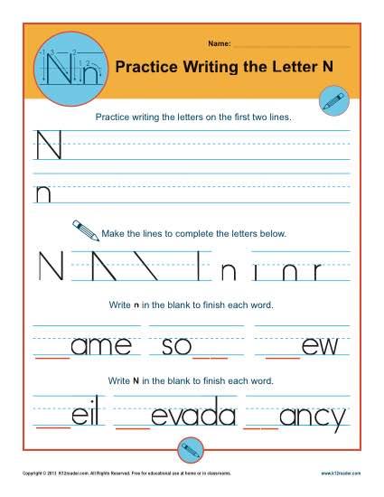 Letter N Worksheets Printable Handwriting Worksheet