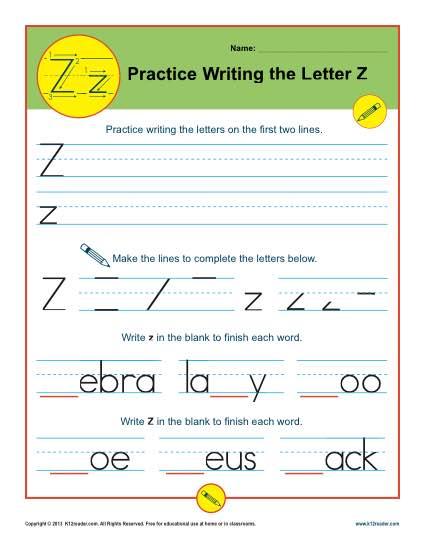 Letter Z Printable Alaphabet Handwriting Worksheets for Kids