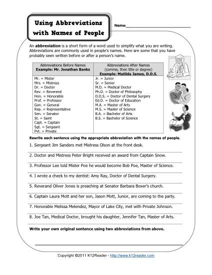 Abbreviations and Names of People Free, Printable Punctuation