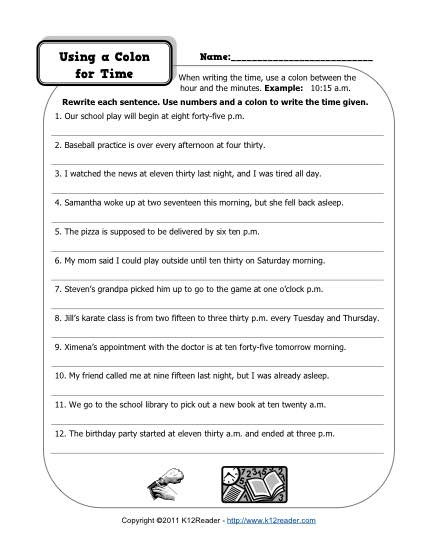 Colons and Time Free, Printable Punctuation Worksheets