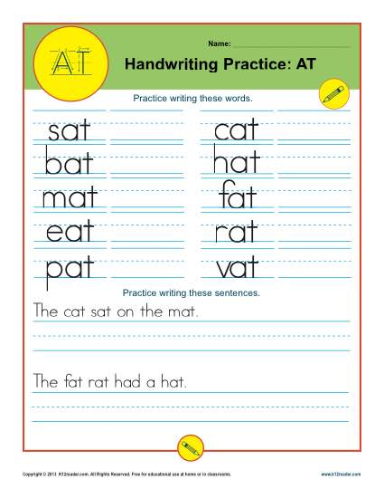 Letters AT Printable Alaphabet Handwriting Worksheets for Kids