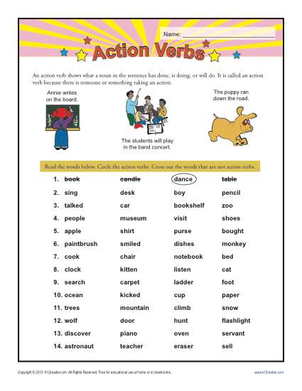 Action Verbs 1st Grade Verb Worksheets - List Of Action Verbs