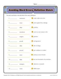 Avoiding Word Errors | Commonly Confused Words Worksheet
