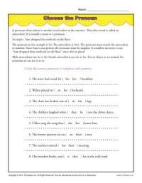 Choose the Pronoun | Pronoun Agreement Worksheet