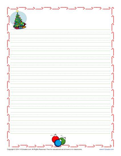 Christmas Writing Paper for Kids Free, Printable Template - blank lined page