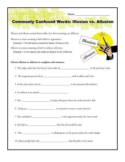 Illusion vs Allusion Worksheet Commonly Confused Words