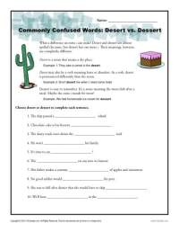 Desert vs. Dessert Worksheet | Easily Confused Words