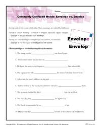 Commonly Confused Words Worksheet: Envelope vs. Envelop