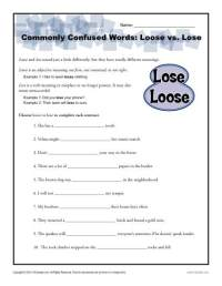Loose vs. Lose Worksheet | Easily Confused Words