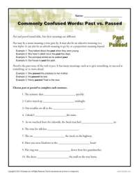 Past vs. Passed Worksheet | Easily Confused Words