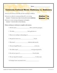 Stationary vs. Stationery Worksheet | Commonly Confused Words