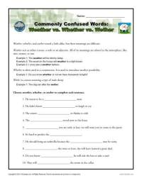 Weather vs. Whether vs. Wether Worksheet | Easily Confused ...