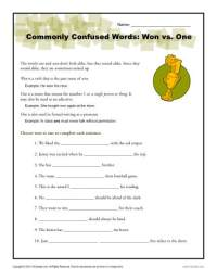 Won vs. One Worksheet | Easily Confused Words