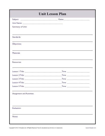 Complex Unit Lesson Plan Template