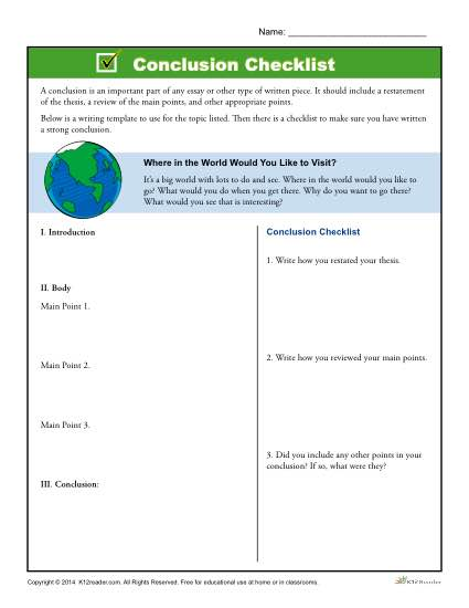 Printable Template to Help Students Write Conclusions