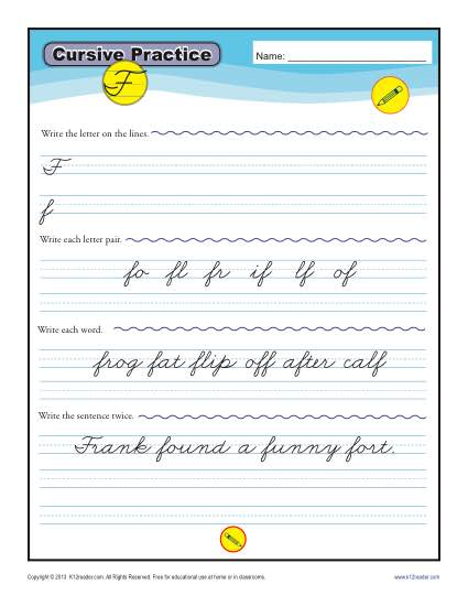Cursive F - Letter F Worksheets for Handwriting Practice