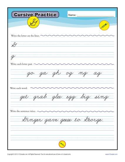 Cursive G - Letter G Worksheets for Handwriting Practice