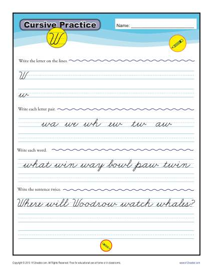 Cursive W - Letter W Worksheets for Handwriting Practice