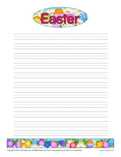 Easter Printable Lined Writing Paper - lined letter writing paper