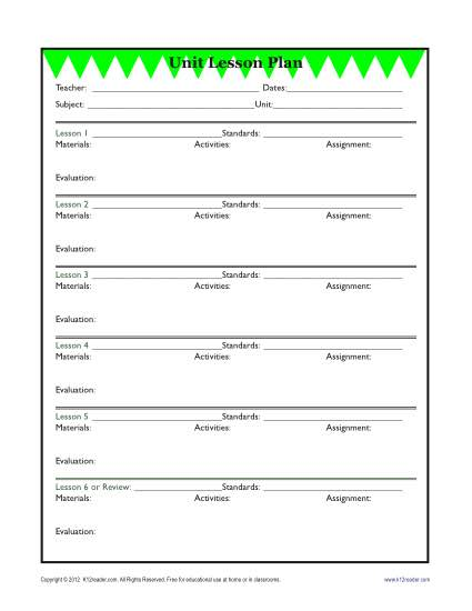 Detailed Unit Lesson Plan Template - Elementary - Reading Worksheets