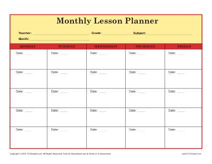 Elementary Lesson Plan Template for Teachers - monthly