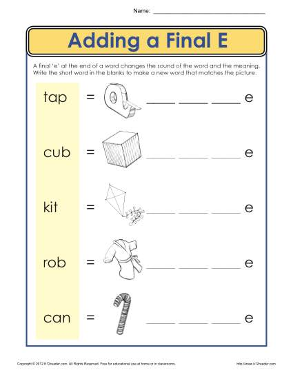 Ending Letter E Worksheet Phonics Worksheets
