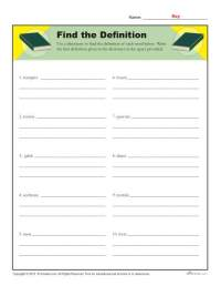 Dictionary Skills Worksheets | Find the Definition