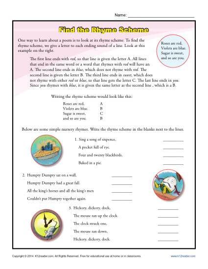 Find the Rhyme Scheme Poetry Worksheets