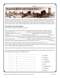 Analyzing Words with Context Clues | Middle School Worksheet