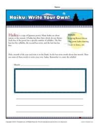 Haiku: Write Your Own!   Poetry Worksheets